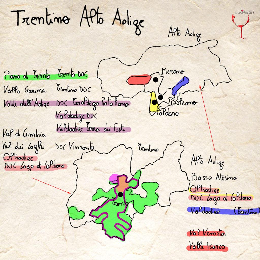 Mappa Vini e Vigneti Trentino Alto Adige